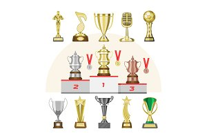 Award trophy vector winners prize trophycup or medal for award-winning champion with reward for victory on competition illustration set of golden cup for first place isolated on background