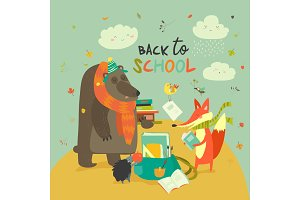 Back to school illustaration with cute woodland animals
