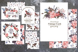 Roses and Birds. Floral Card Set