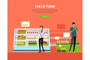 Fresh Food Store Concept Banner in Flat Design.