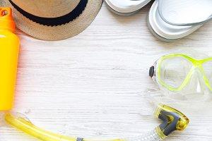 Summer beach accessories on white
