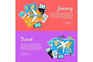 Journey and Travel Banner. Tourist Attributes