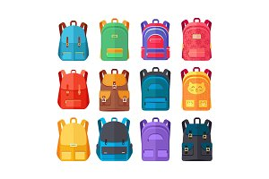 Colorful Backpacks Flat Vectors Collection