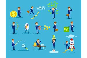 Set of Businessmen Achieving Success Money Concept