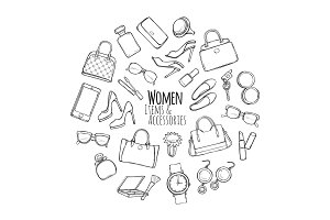 Women Items and Accessories. Collection of Things