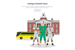 Colleage Football Team. High School on Background