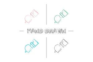 Hand holding paint brush hand drawn icons set