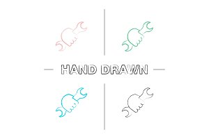 Hand holding wrench hand drawn icons set