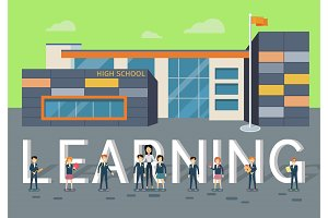 Learning in Upper School Flat Style Vector Concept