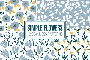 SIMPLE FLOWERS 12 seamless patterns