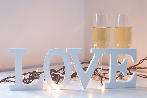 wooden letters with the word love, message and love concept