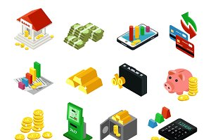 Isometric Financial Icons Set