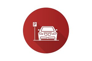 Parking zone flat design long shadow glyph icon