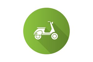 Scooter side view flat design long shadow glyph icon