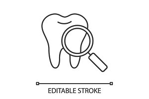 Teeth medical check linear icon