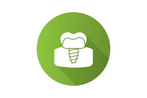Dental implant flat design long shadow glyph icon