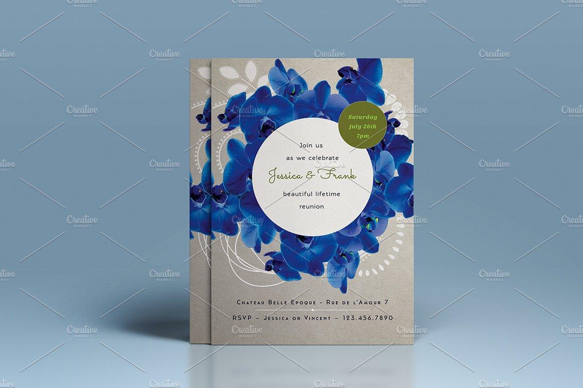 Premium Blue Orchid Wedding Invite ~ Invitation Templates ~ Creative ...