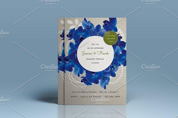 Blue Orchid Wedding Invitations: Premium Blue Orchid Wedding Invite