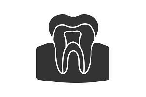 Tooth anatomical structure glyph icon