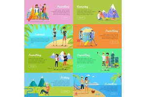 Set of People on Vacation Vector Flat Web Banners