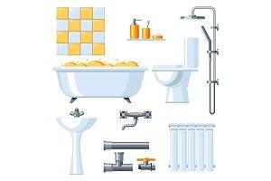 Bathroom interior. Plumbing icon set.