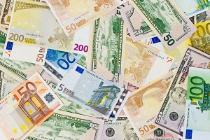 Euro and dollar banknotes
