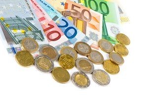 Euro currency. Coins and banknotes