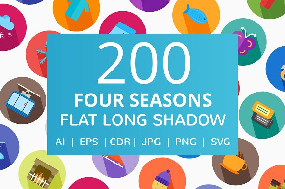 200 Four Seasons Flat Icons in Graphics