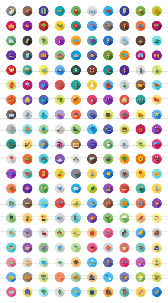 200 Four Seasons Flat Icons in Graphics - product preview 1