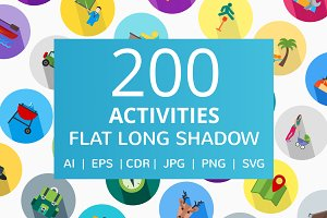 200 Activities Flat Icons