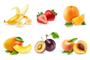 Fresh fruits and berries icons set