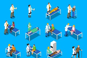 Doctor patient relationship icons