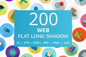 200 Web Flat Long Shadow Icons