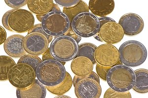 Euro coins. Money background