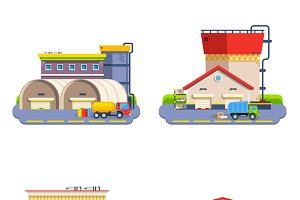 Warehouse buildings icons set