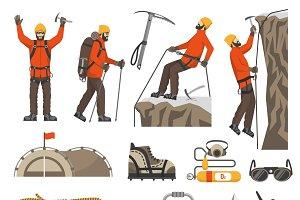 Climbing hiking mountaineering icons