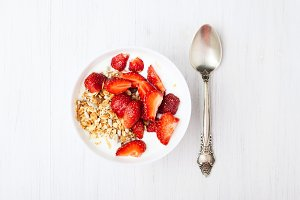 Healthy breakfast with strawberry.