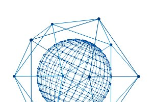 Sphere with digital data and blue network connection lines for technology concept isolated on white background, 3d abstract shape illustration