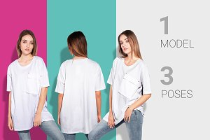 Woman oversize t-shirt mockup set