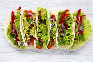 Corn tortillas with lettuce, redish