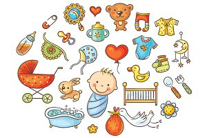 Colorful Cartoon Baby Set