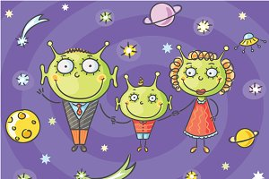Cartoon alien family