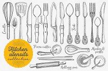 Kitchen Utensils Hand Drawn Set