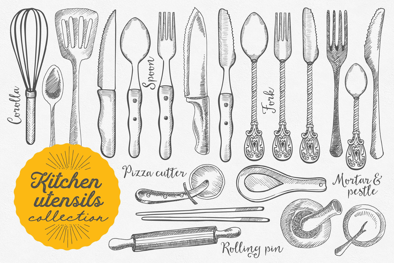 kitchen utensils hand drawn set illustrations creative market
