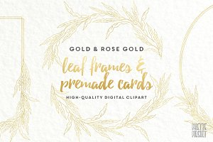Gold & rose gold leaf frames borders