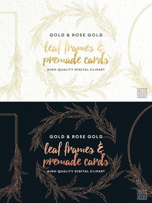 Gold & rose gold leaf frames borders ~ Illustrations ~ Creative Market