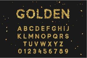Font alphabet from gold confetti, letter golden serpentine.