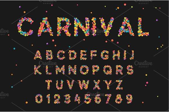 Font alphabet of colored confetti.