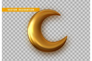 Golden crescent 3d design isolated on transparent background