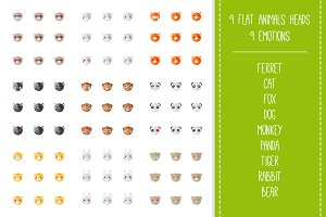 Zoo Mega Set. 9x9 animal emoticons